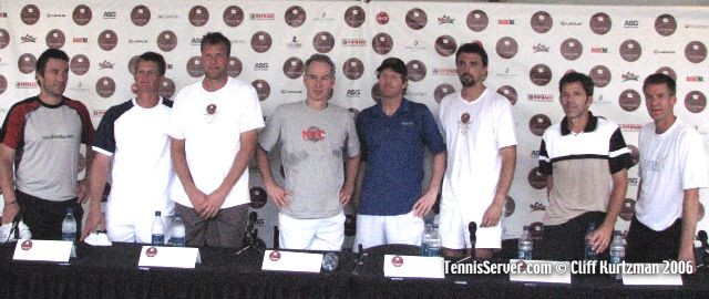 Tennis - from left: Pat Cash, Wayne Ferreira, Magnus Larsson, John McEnroe, Jim Courier, Goran Ivanisevic, Jimmy Arias, and Anders Jarryd