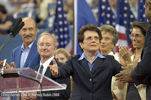 Tennis - 2008 US Open Opening Night Ceremonies - Rod Laver - Billy Jean King