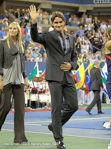 Tennis - 2008 US Open Opening Night Ceremonies - Roger Federer - Maria Sharapova
