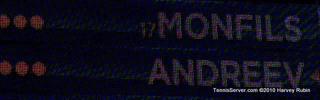 Andreev Monfils Scoreboard US Open 2010 Tennis