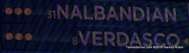 Verdasco Nalbandian Scoreboard US Open 2010 Tennis