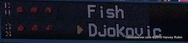 Fish Djokovic Scoreboard US Open 2010 Tennis