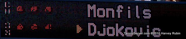 Monfils Djokovic Scoreboard US Open 2010 Tennis