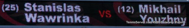 Wawrinka Youzhny Scoreboard US Open 2010 Tennis