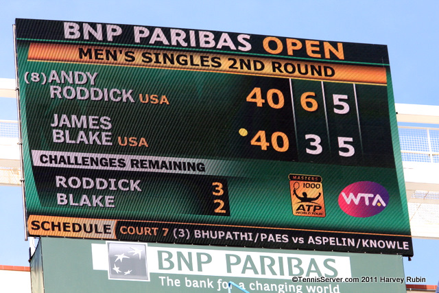 Andy Roddick James Blake Scoreboard 2011 BNP Paribas Open Tennis