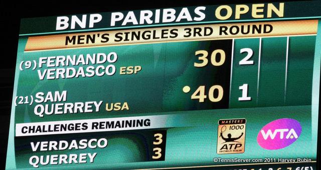 Sam Querrey Fernando Verdasco Scoreboard 2011 BNP Paribas Open Tennis