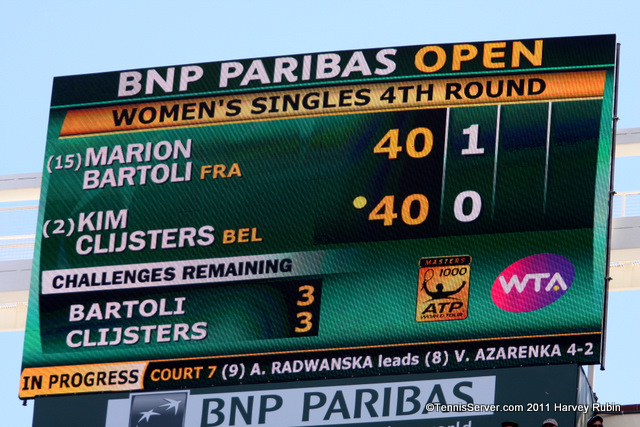 Marion Bartoli Kim Clijsters  Scoreboard 2011 BNP Paribas Open Tennis
