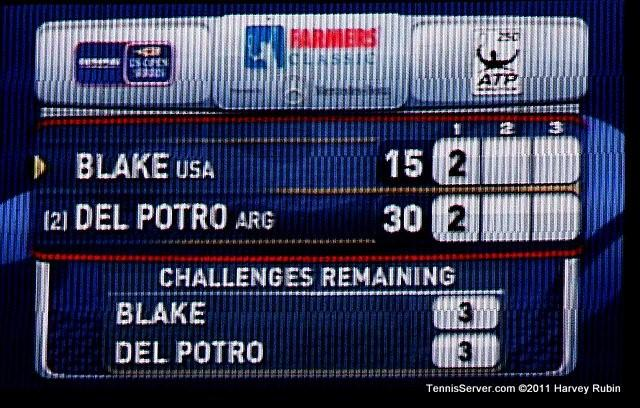 Scoreboard Juan Martin del Potro James Blake 2011 Farmers Classic Los Angeles Tennis