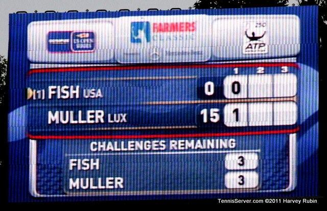 Scoreboard Mardy Fish Gilles Muller 2011 Farmers Classic Los Angeles Tennis