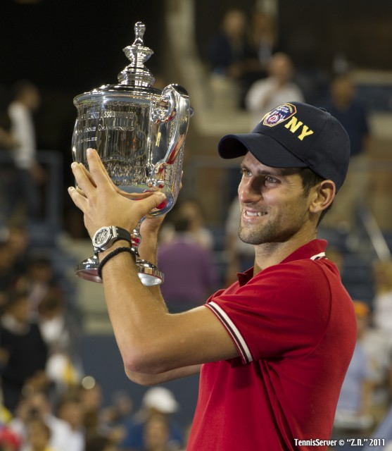 Novak Djokovic Trophy 2011 US Open New York Tennis